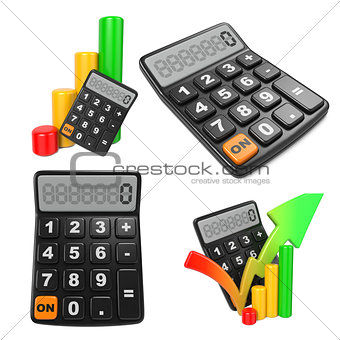 Business Concept with Calculator and Diagram.