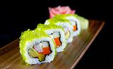 Cali crab green eggs sushi