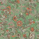 vector seamless green and orange floral pattern