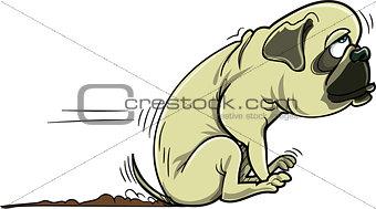 Cartoon pug dog scraping its bum