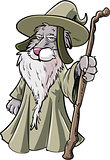 Cartoon cat wizard with staff