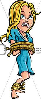 Cartoon tied up woman