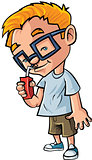 Cute cartoon boy with glasses drinking juice