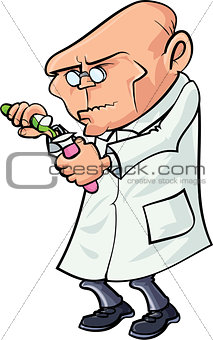 Cartoon scientist mixing chemicals