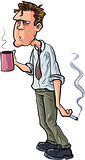 Cartoon stressed office worker with coffee