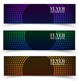 Vector web banners. One, two, three. Presentation slide template. Abstract background. Business background. Technology background. Business card. Glowing background. Blue background