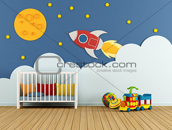 Baby room with cradle