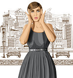 Vector Surprised Girl in Dress