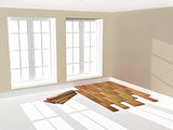 Empty room with parquet floor
