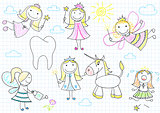 Vector set of fairies