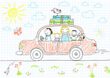 Happy family - mom, dad and two children in car