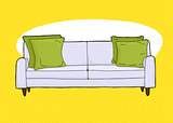Empty Loveseat Over Yellow