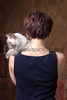 Beautiful girl with a cat