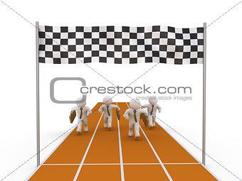 Four businessmen running on track