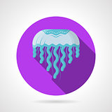Blue jellyfish flat round vector icon