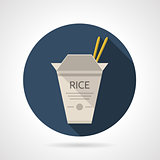 Rice box flat round vector icon