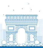 Outline Arch of Triumph. France Paris.