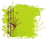 Green background with bamboo