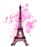 Pink watercolor blots and Eiffel Tower