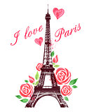 Red watercolor roses and Eiffel Tower