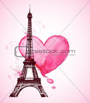 Watercolor heart and Eiffel Tower