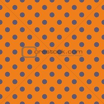 Tile vector pattern with grey polka dots on orange background