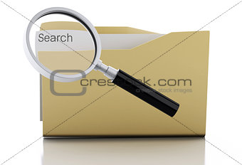 3d Magnifying glass examine folder