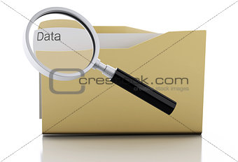3d Magnifying glass examine data in folder