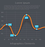 Modern orange 3d business diagram graph infographic elements