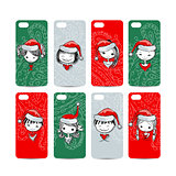 Mobile phone cover back. Santa girls for your design