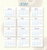 Calendar 2016 starting from monday