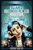 Attractive Club Disco Flyer with a Girl Dj listening to music