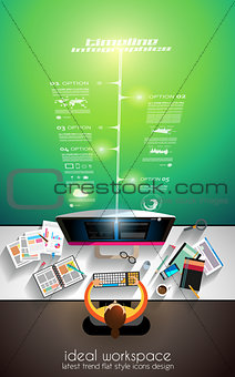 3D Infographic teamwork and brainstorming with Flat style
