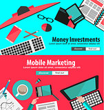 Flat Design Concepts for business planning and people