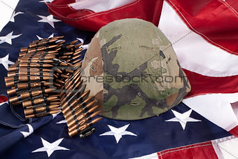 Flag, Cartridges And Helmet