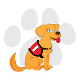Cartoon service dog sitting on a paw background