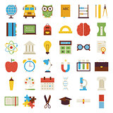 Big Flat Back to School Objects Set isolated over white
