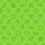 Summer and Vacation Green Seamless Pattern