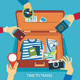time to travel concept flat design