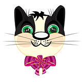 Head kitty with bow