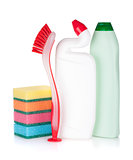 Plastic bottles of cleaning products, sponges and brush