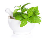 Fresh mint in mortar