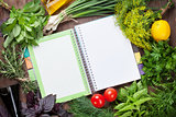 Fresh garden herbs and notepad for recipes