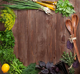 Fresh garden herbs and condiments