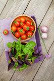 Fresh farmers tomatoes and basil
