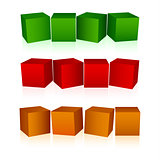 Abstract colorful cubes empty background