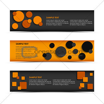 Abstract horizontal banners with rounds and squares