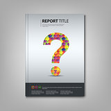 Brochures book or flyer with colored puzzle question template