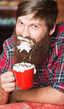 Man with Foam on Beard