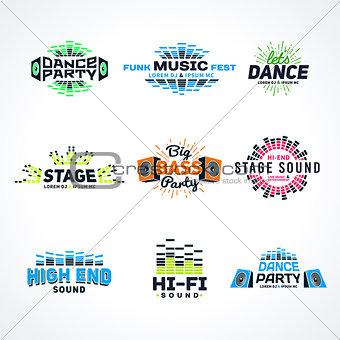 Sixth set music equalizer emblem vector on light background. Modern colorful logo collection. Sound system illustration